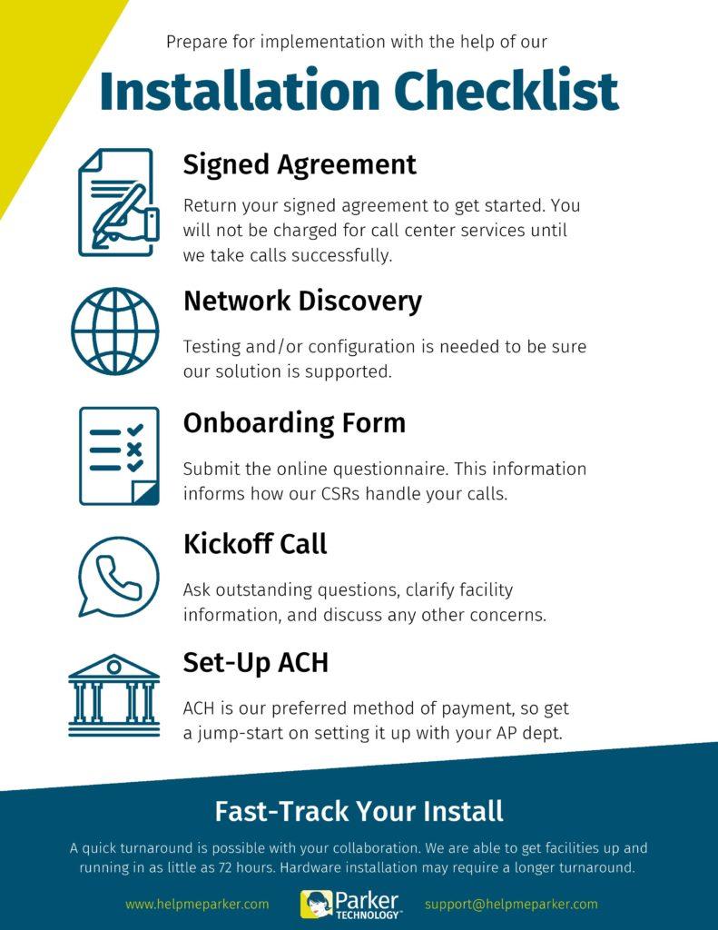 Parker Technology Installation Checklist